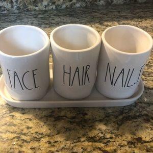 Rae Dunn Hair Face Nails ceramic dishes
